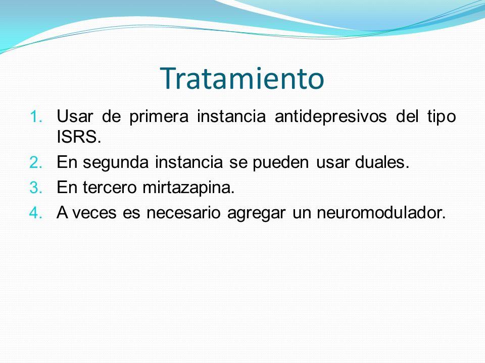 Tratamiento Usar de primera instancia antidepresivos del tipo ISRS.