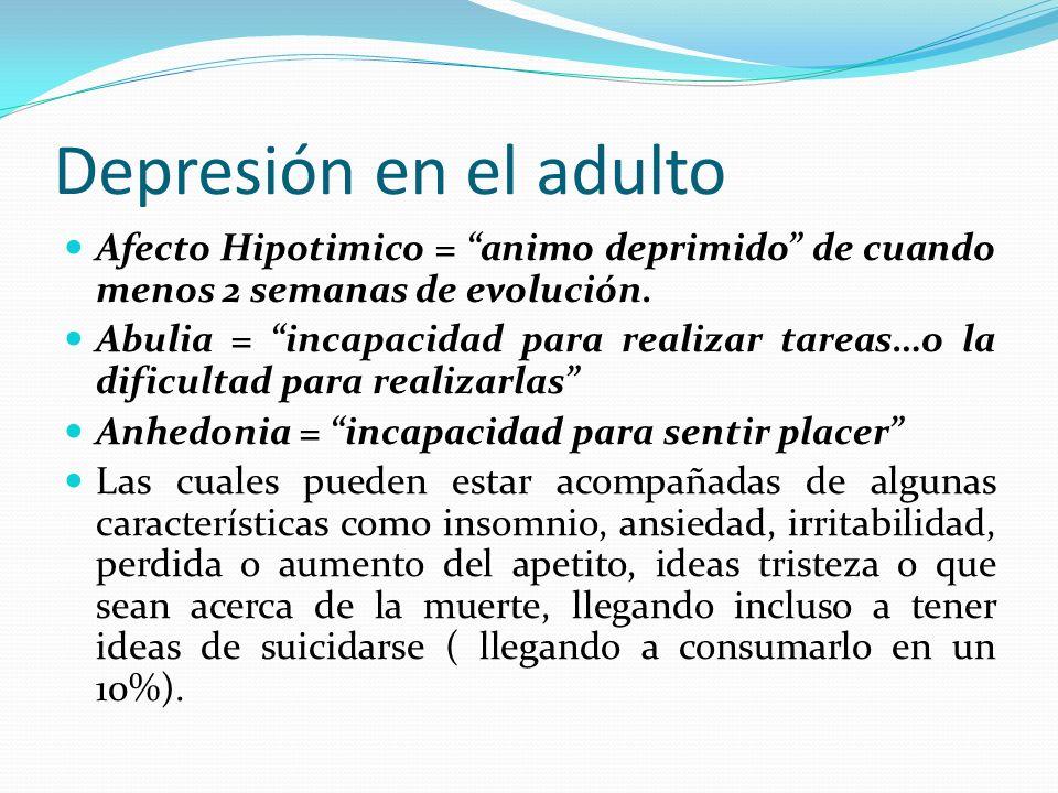 Depresión en el adulto Afecto Hipotimico = animo deprimido de cuando menos 2 semanas de evolución.