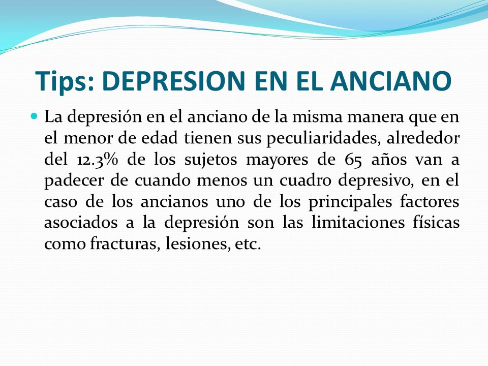 Tips: DEPRESION EN EL ANCIANO