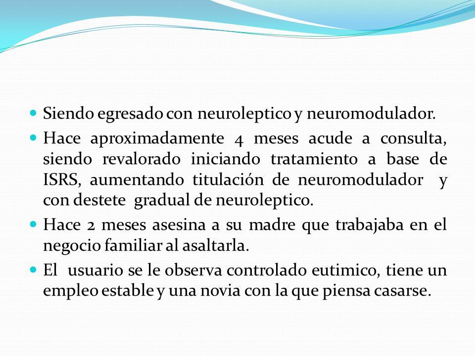 Siendo egresado con neuroleptico y neuromodulador.