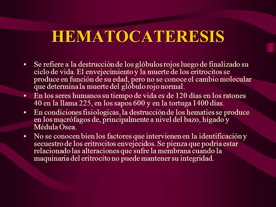 HEMATOCATERESIS