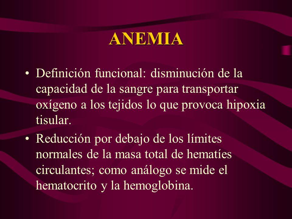 ANEMIA Definición funcional: disminución de la capacidad de la sangre para transportar oxígeno a los tejidos lo que provoca hipoxia tisular.