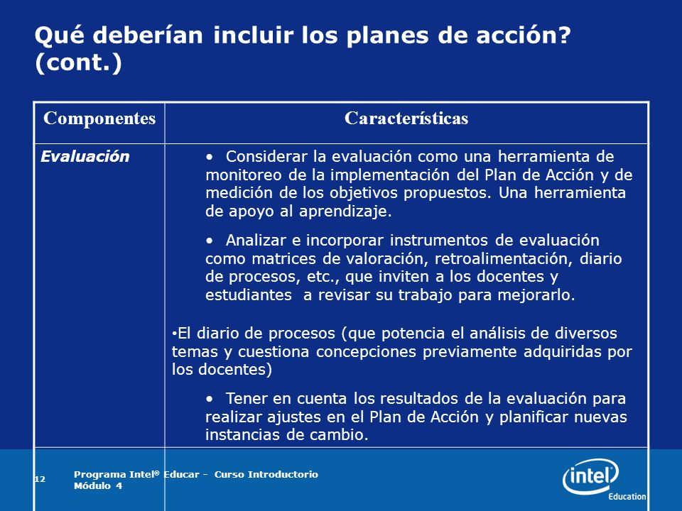 Qué deberían incluir los planes de acción (cont.)