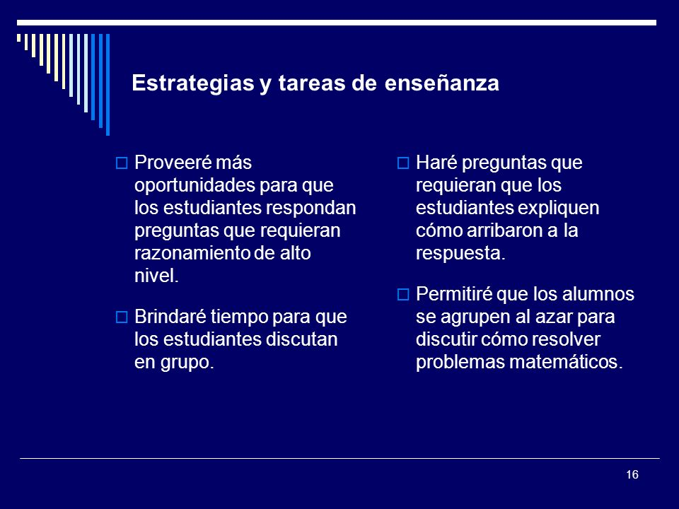 Estrategias y tareas de enseñanza