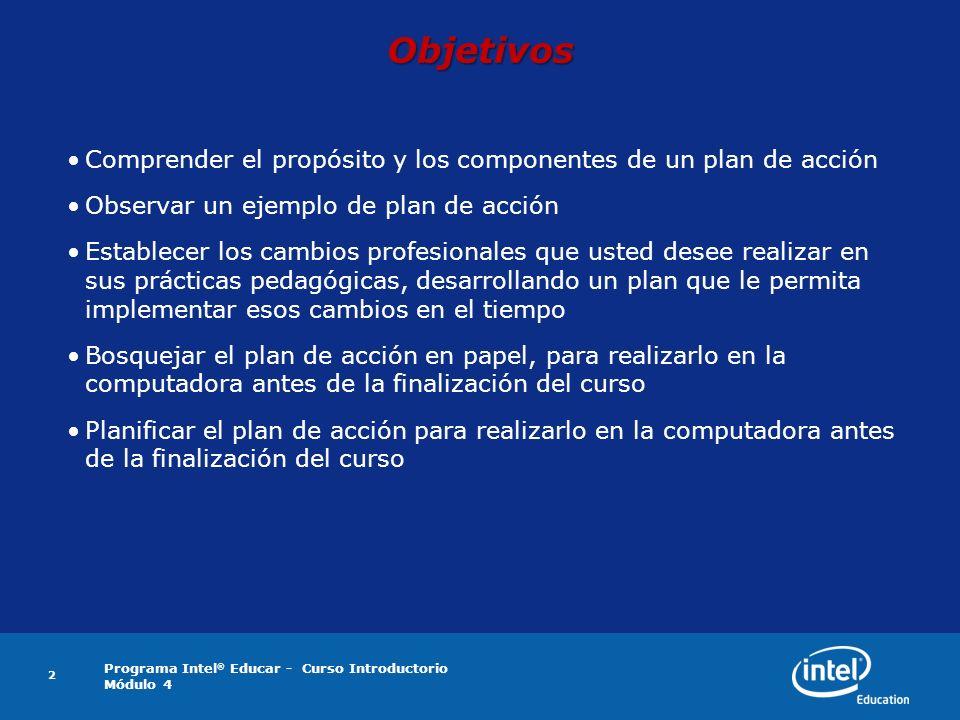 Objetivos Comprender el propósito y los componentes de un plan de acción. Observar un ejemplo de plan de acción.
