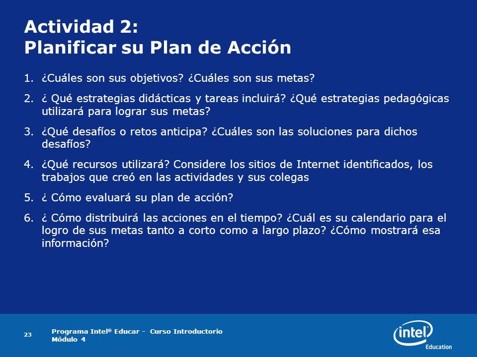 Actividad 2: Planificar su Plan de Acción