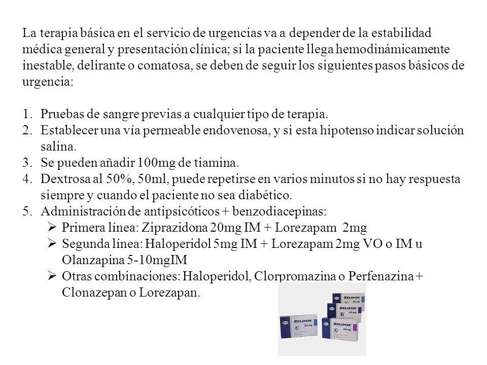 La terapia básica en el servicio de urgencias va a depender de la estabilidad médica general y presentación clínica; si la paciente llega hemodinámicamente inestable, delirante o comatosa, se deben de seguir los siguientes pasos básicos de urgencia: