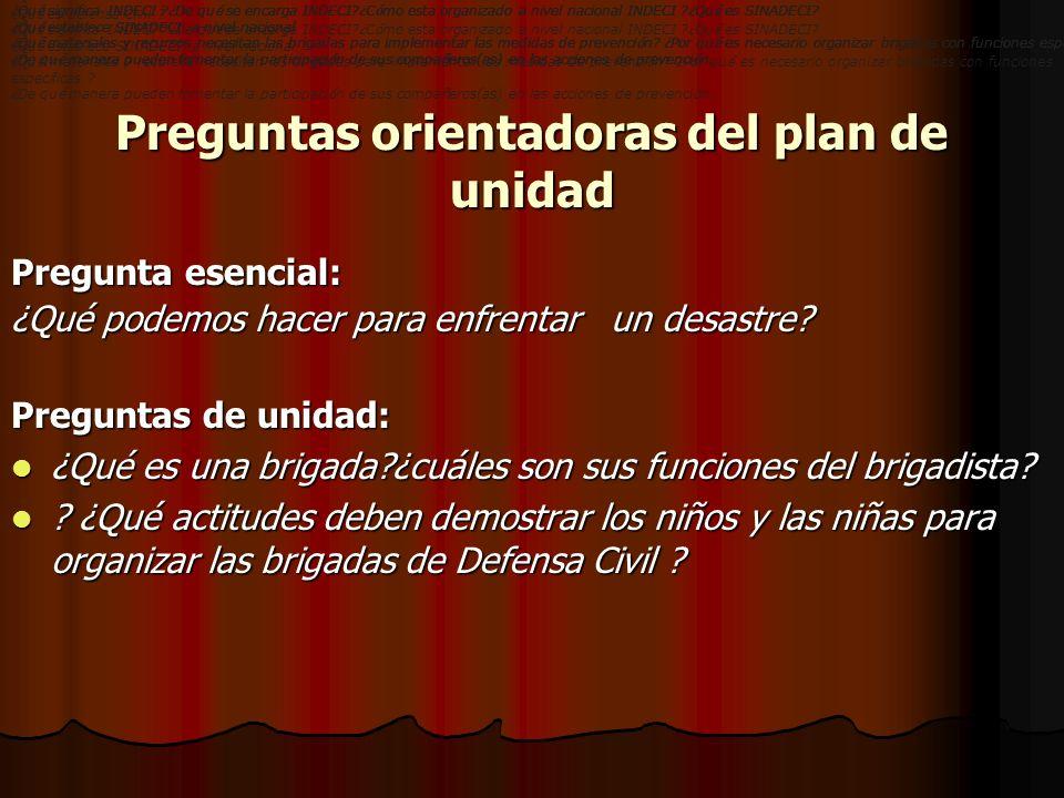 Preguntas orientadoras del plan de unidad