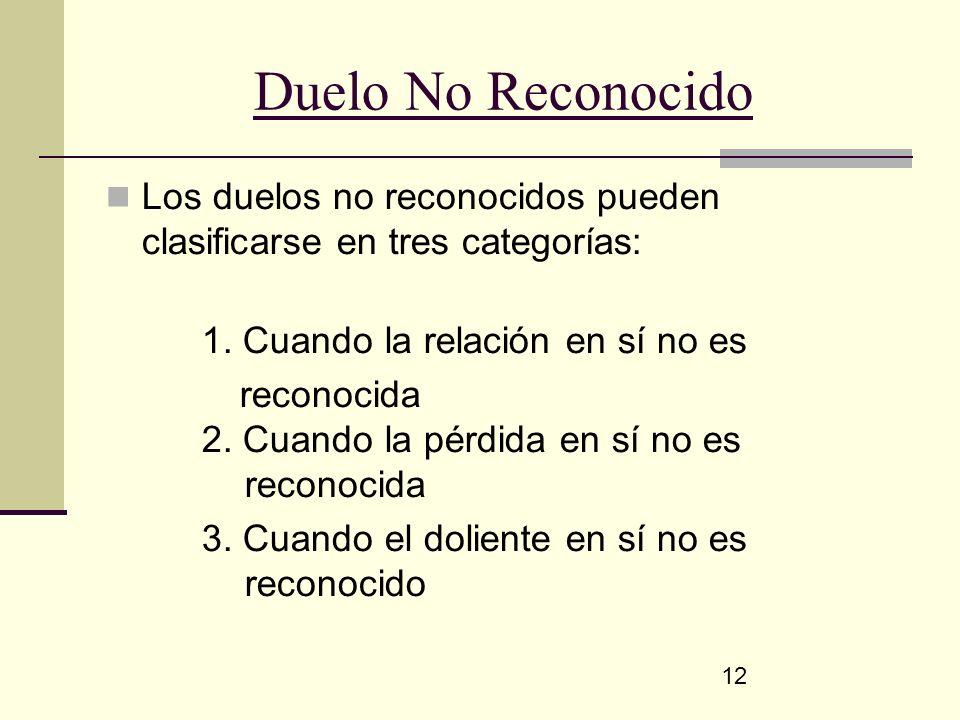 Duelo No Reconocido Los duelos no reconocidos pueden clasificarse en tres categorías: 1. Cuando la relación en sí no es.
