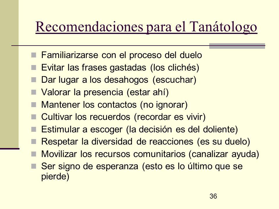 Recomendaciones para el Tanátologo