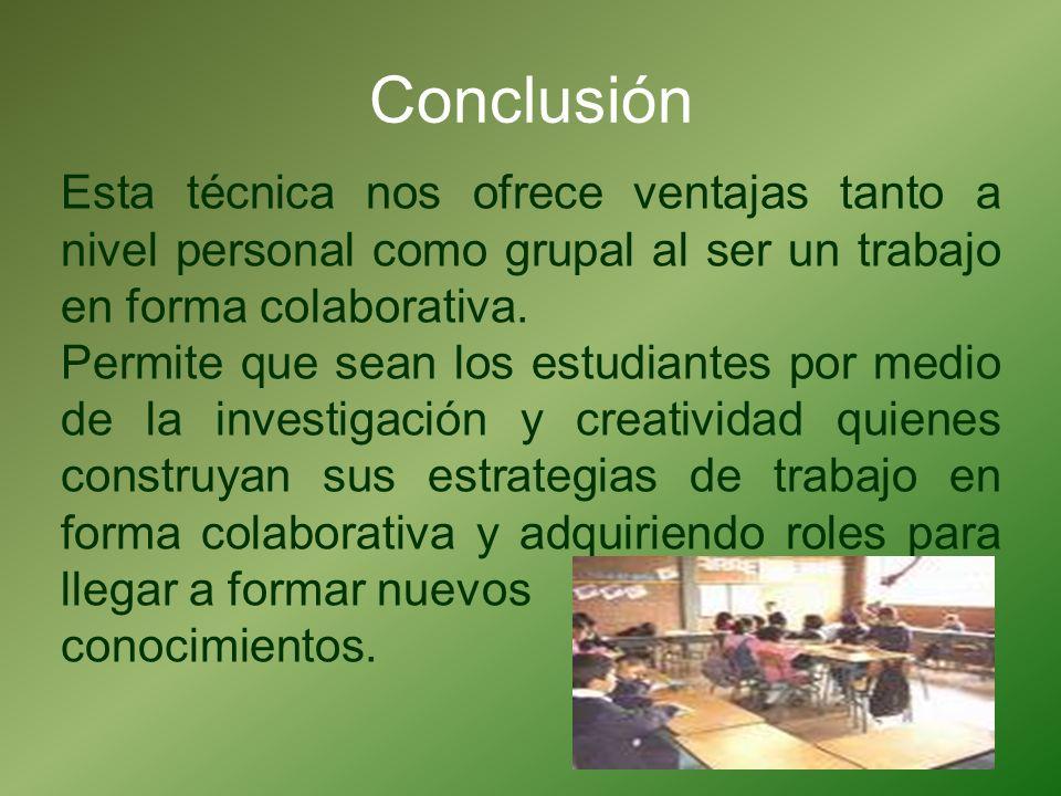 Conclusión Esta técnica nos ofrece ventajas tanto a nivel personal como grupal al ser un trabajo en forma colaborativa.