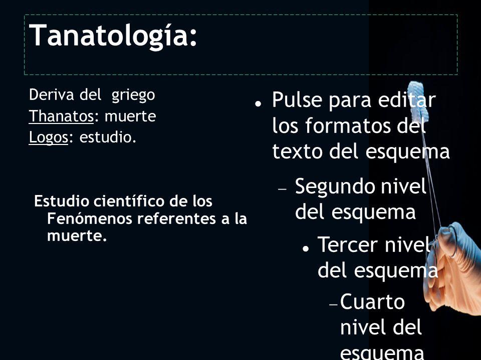 Tanatología: 2 Deriva del griego Thanatos: muerte Logos: estudio.