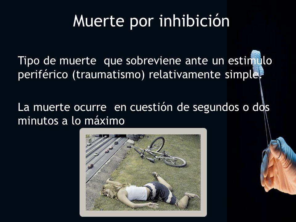2222 Muerte por inhibición. Tipo de muerte que sobreviene ante un estimulo periférico (traumatismo) relativamente simple.
