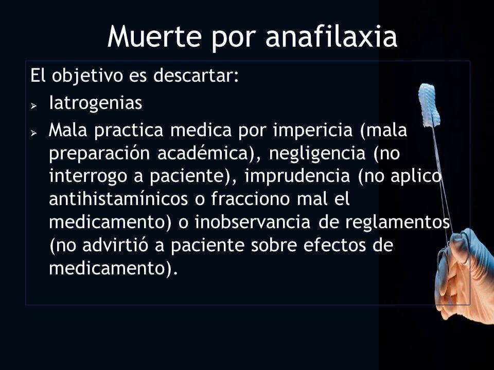 Muerte por anafilaxia El objetivo es descartar: Iatrogenias