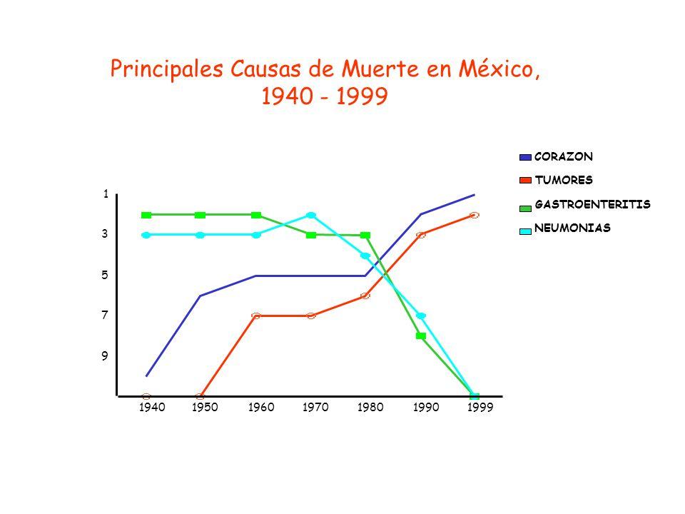 Principales Causas de Muerte en México, 1940 - 1999