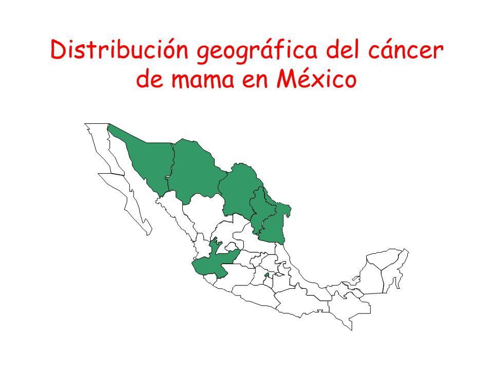 Distribución geográfica del cáncer de mama en México