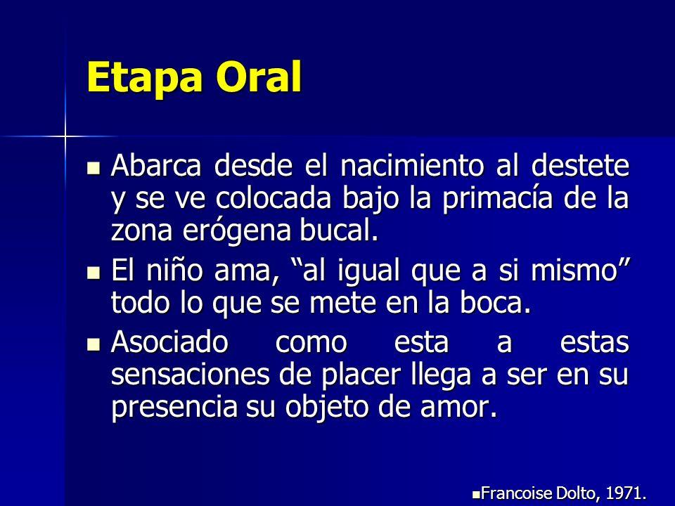 Etapa Oral Abarca desde el nacimiento al destete y se ve colocada bajo la primacía de la zona erógena bucal.