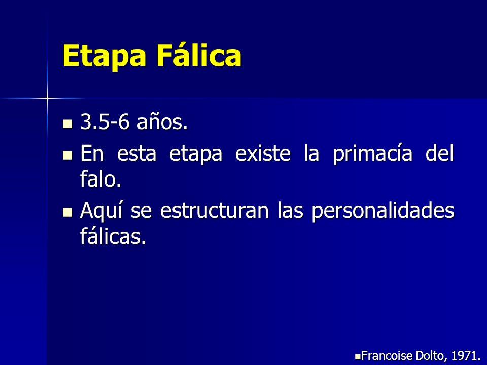 Etapa Fálica 3.5-6 años. En esta etapa existe la primacía del falo.