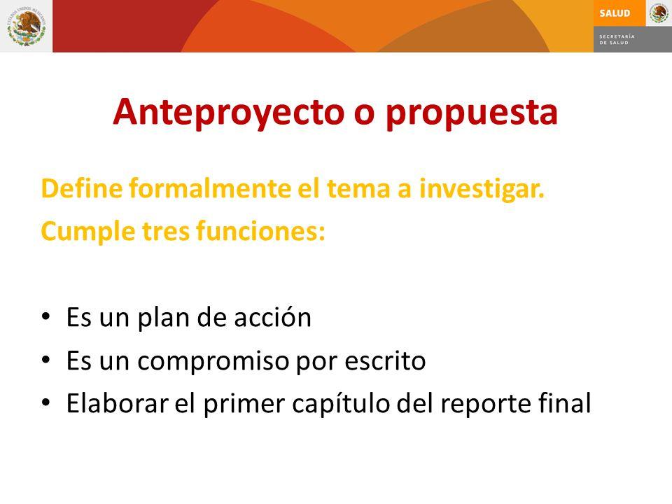 Anteproyecto o propuesta