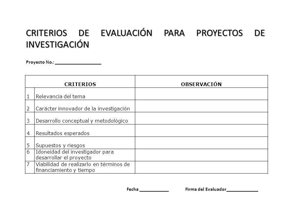 CRITERIOS DE EVALUACIÓN PARA PROYECTOS DE INVESTIGACIÓN