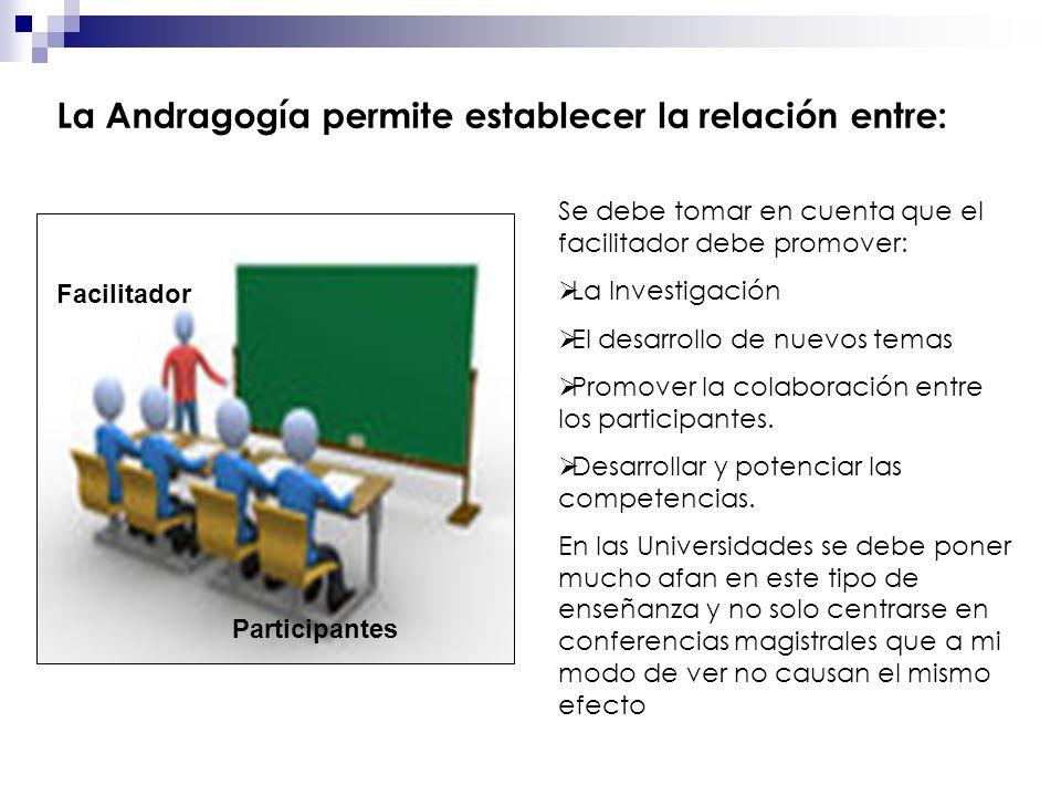 La Andragogía permite establecer la relación entre: