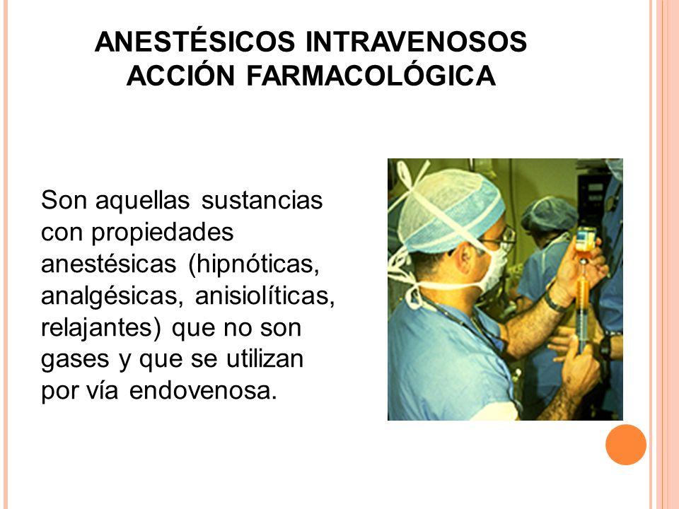 ANESTÉSICOS INTRAVENOSOS ACCIÓN FARMACOLÓGICA