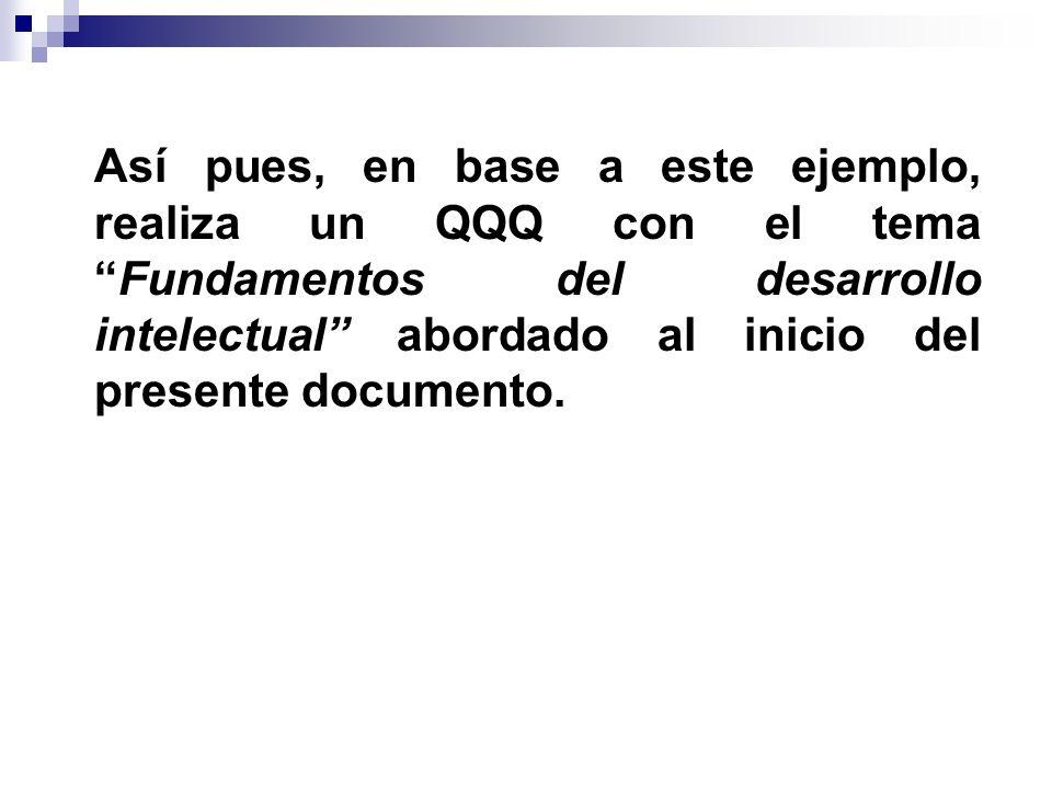 Así pues, en base a este ejemplo, realiza un QQQ con el tema Fundamentos del desarrollo intelectual abordado al inicio del presente documento.