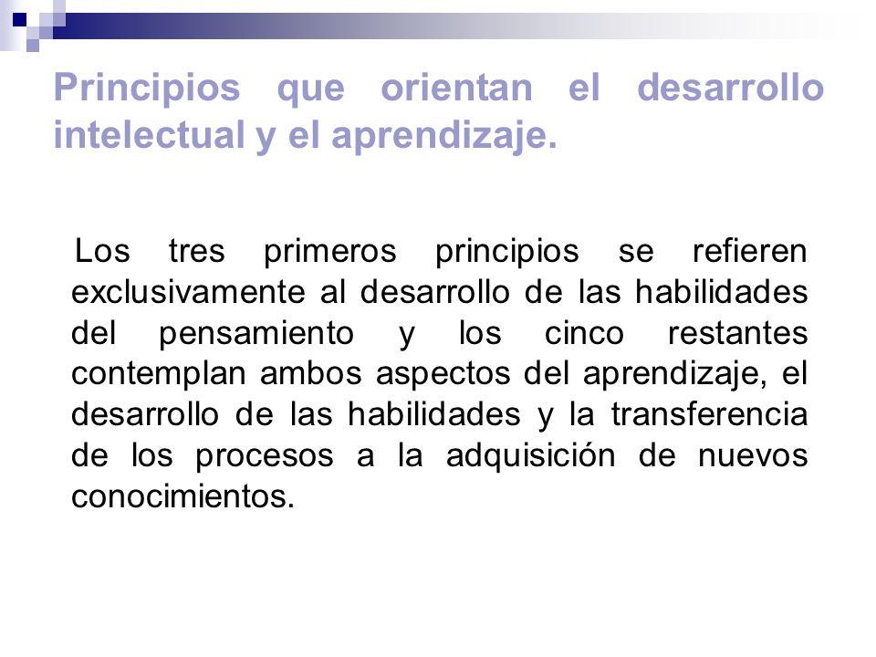 Principios que orientan el desarrollo intelectual y el aprendizaje.