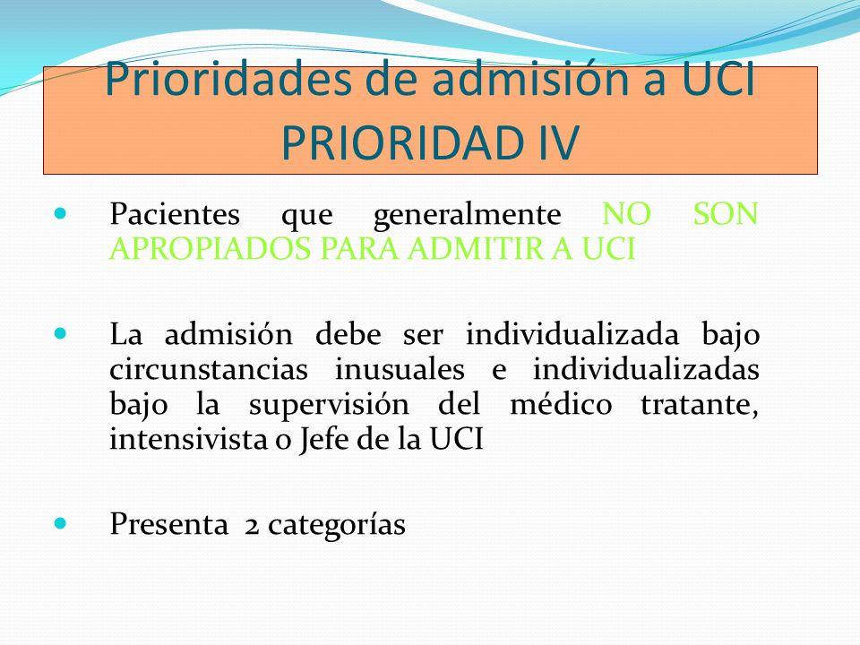 Prioridades de admisión a UCI PRIORIDAD IV