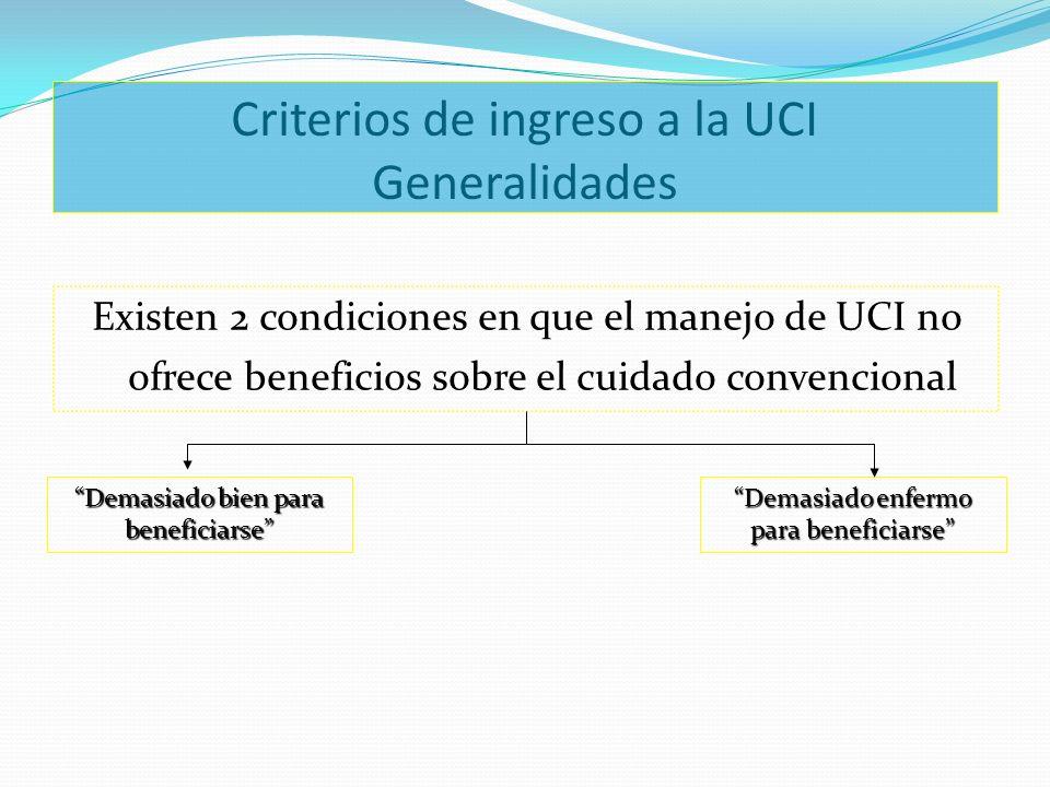 Criterios de ingreso a la UCI Generalidades