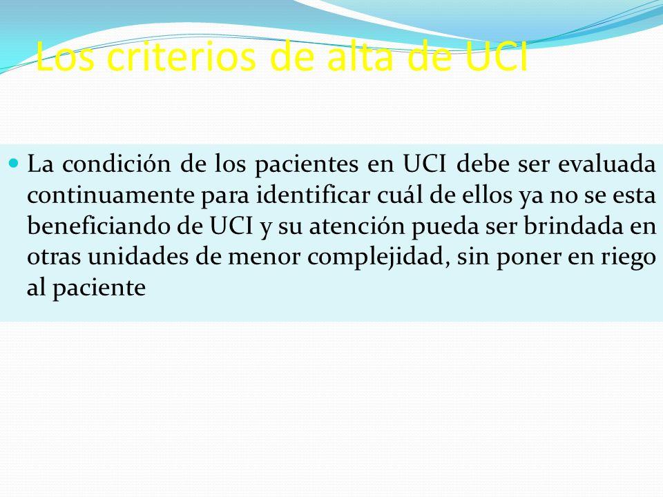Los criterios de alta de UCI