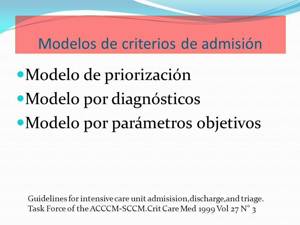 Modelos de criterios de admisión