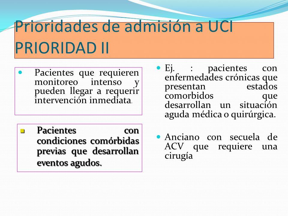 Prioridades de admisión a UCI PRIORIDAD II