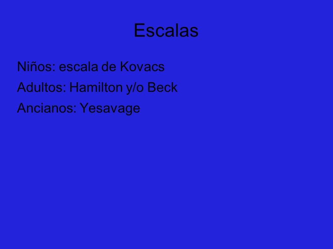 Escalas Niños: escala de Kovacs Adultos: Hamilton y/o Beck