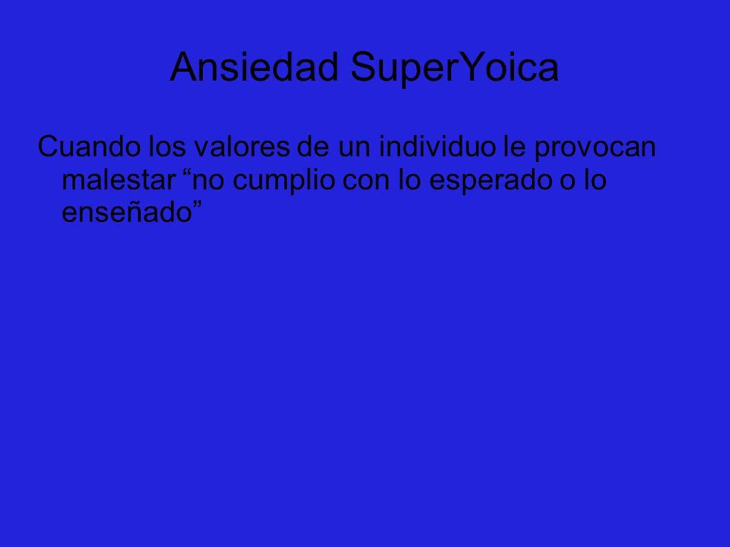 Ansiedad SuperYoica Cuando los valores de un individuo le provocan malestar no cumplio con lo esperado o lo enseñado