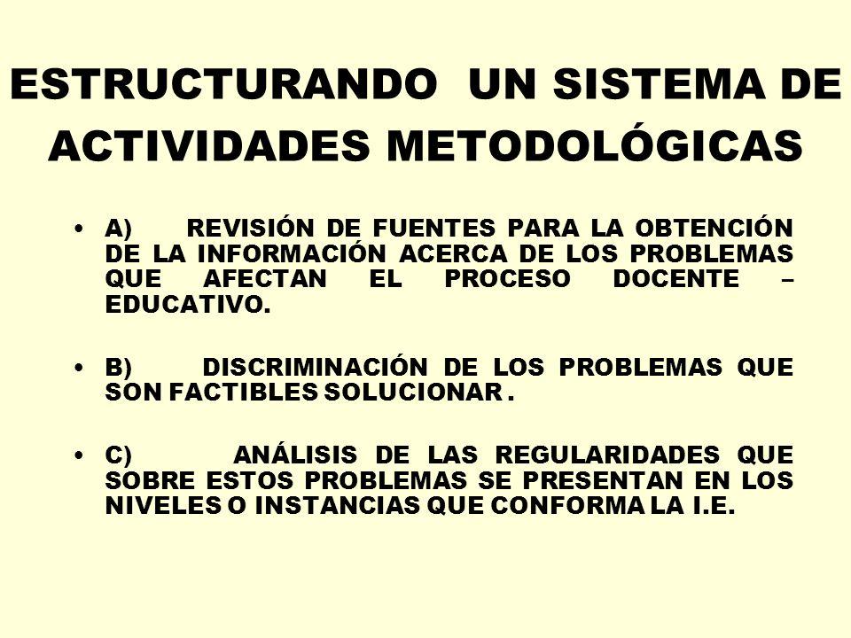ESTRUCTURANDO UN SISTEMA DE ACTIVIDADES METODOLÓGICAS