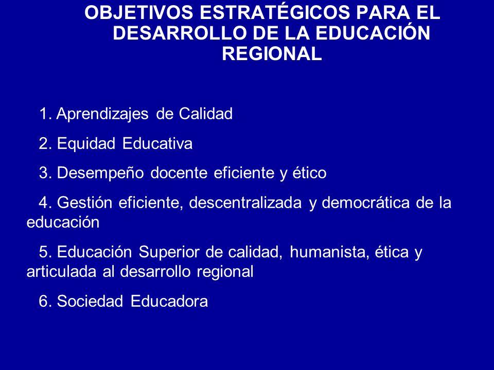 OBJETIVOS ESTRATÉGICOS PARA EL DESARROLLO DE LA EDUCACIÓN REGIONAL