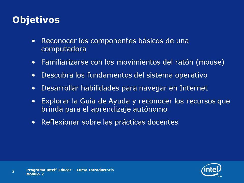 Objetivos Reconocer los componentes básicos de una computadora