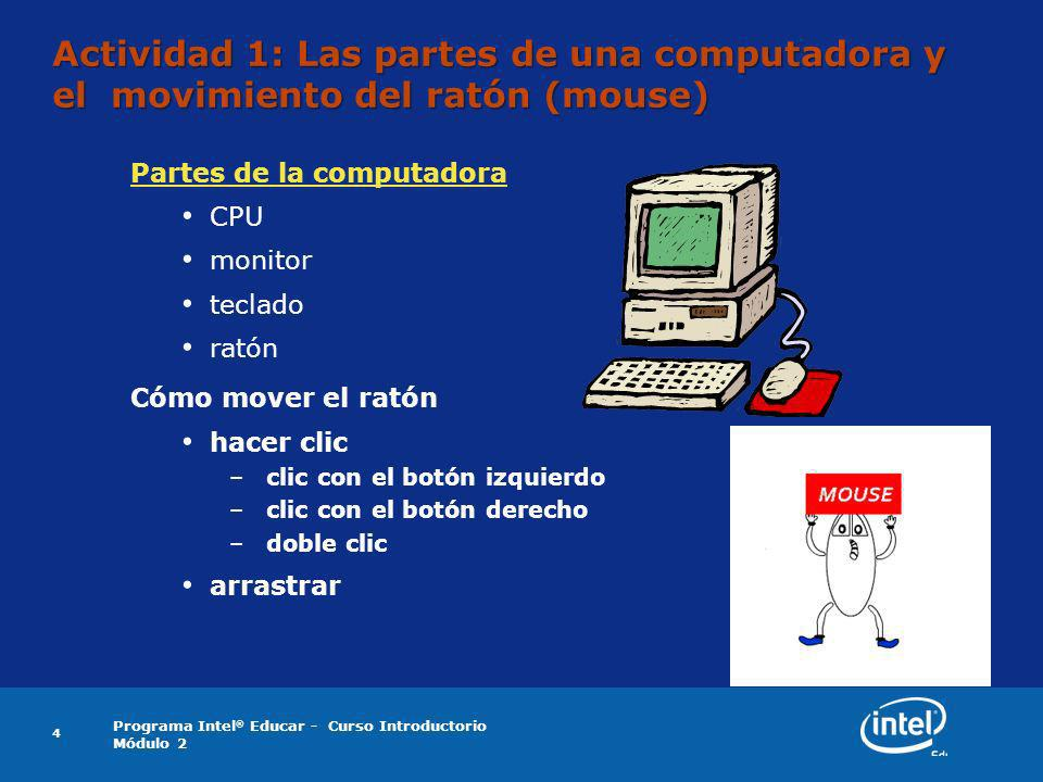 Actividad 1: Las partes de una computadora y el movimiento del ratón (mouse)