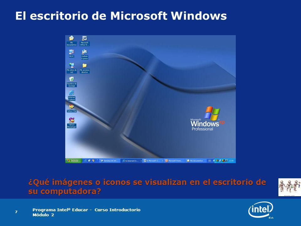 El escritorio de Microsoft Windows