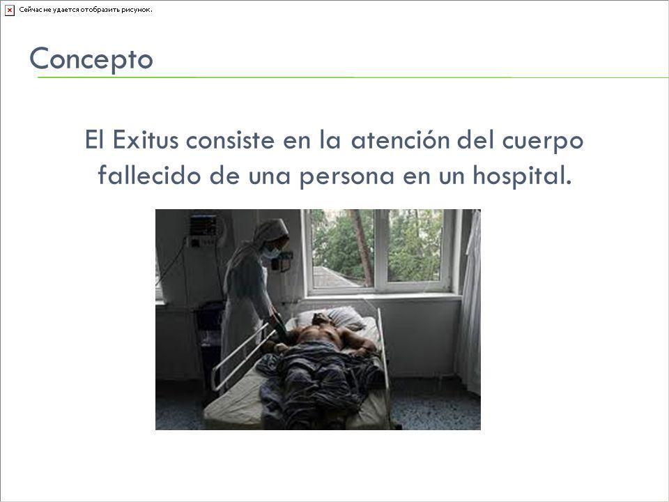 Concepto El Exitus consiste en la atención del cuerpo fallecido de una persona en un hospital.