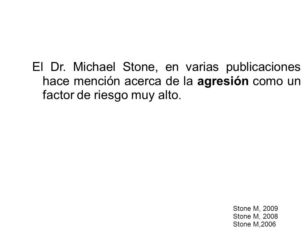 El Dr. Michael Stone, en varias publicaciones hace mención acerca de la agresión como un factor de riesgo muy alto.