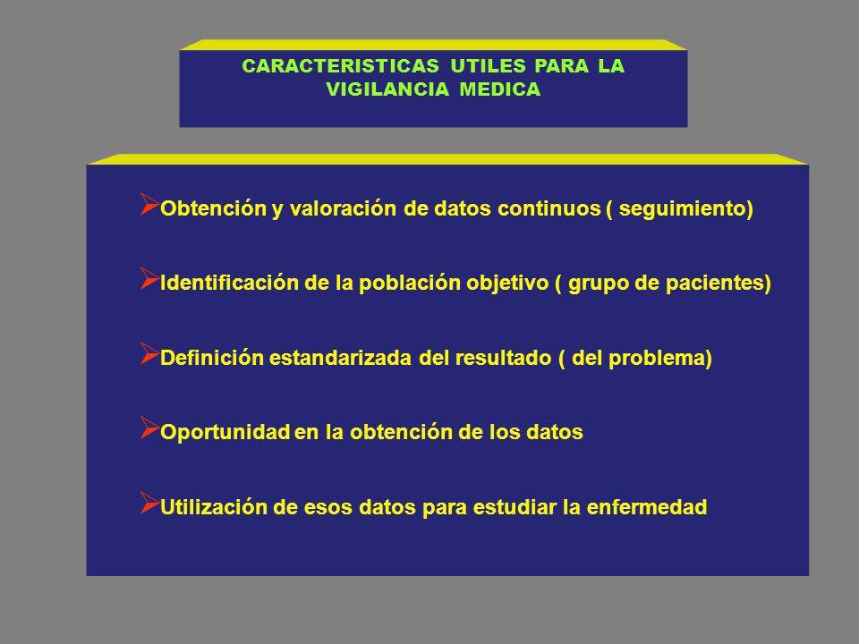 CARACTERISTICAS UTILES PARA LA VIGILANCIA MEDICA
