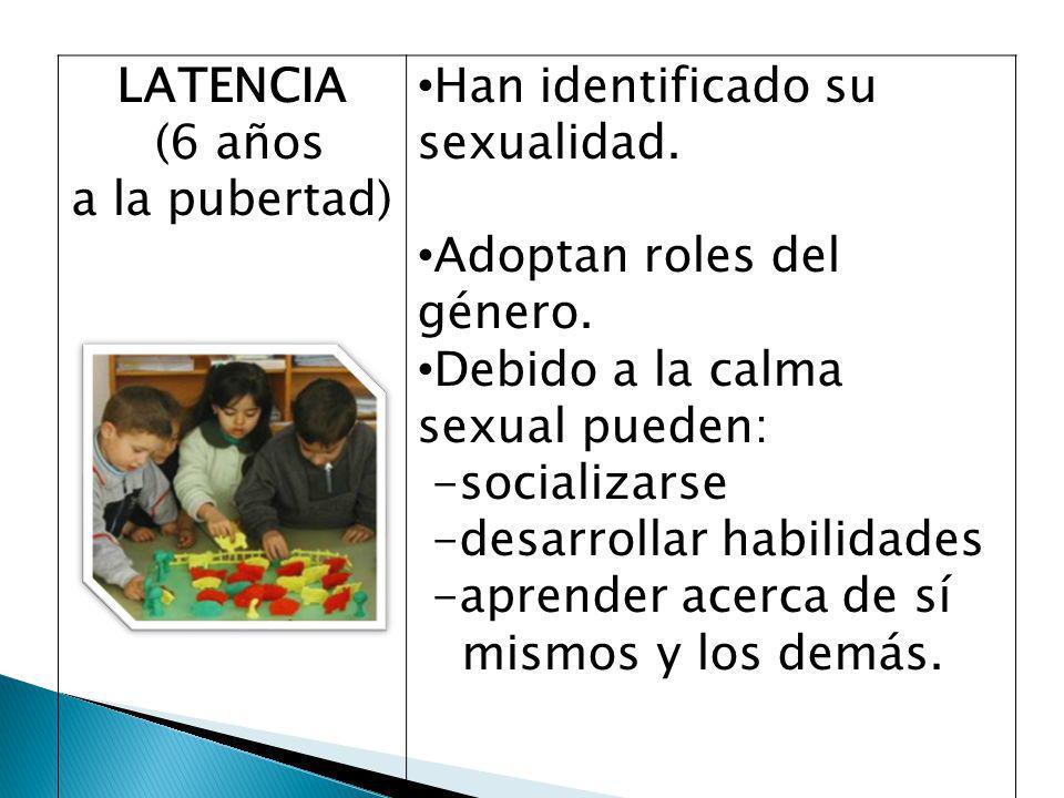 LATENCIA (6 años. a la pubertad) Han identificado su sexualidad. Adoptan roles del género. Debido a la calma sexual pueden: