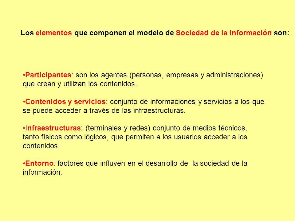 Los elementos que componen el modelo de Sociedad de la Información son: