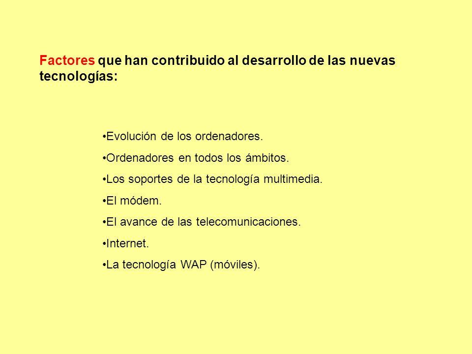 Factores que han contribuido al desarrollo de las nuevas tecnologías: