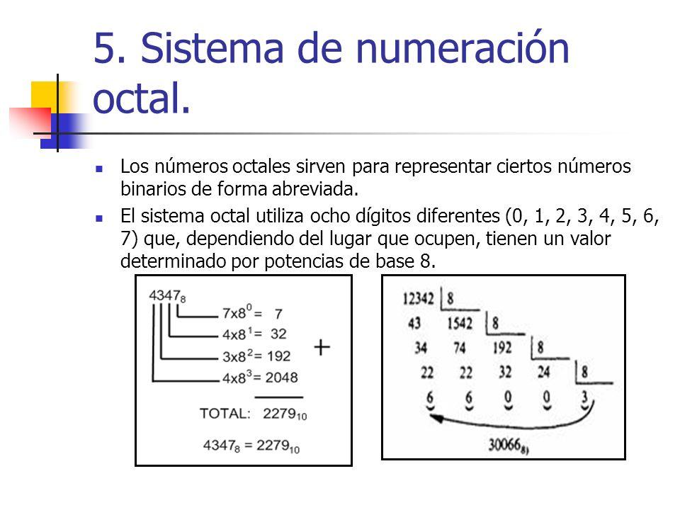 5. Sistema de numeración octal.