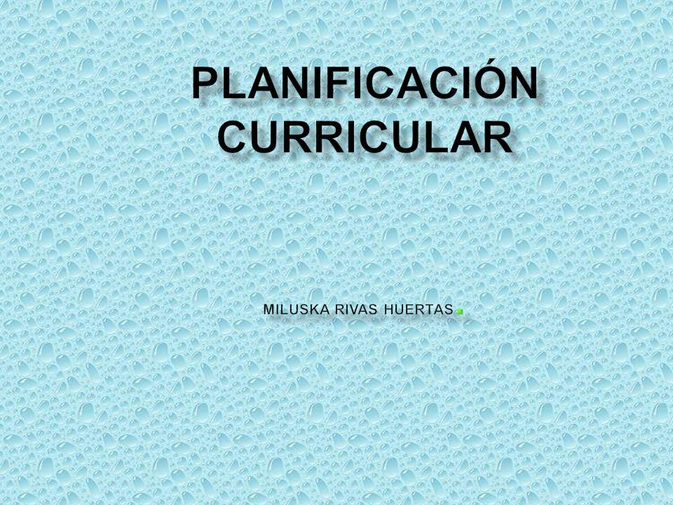 PLANIFICACIÓN CURRICULAR Miluska Rivas Huertas.
