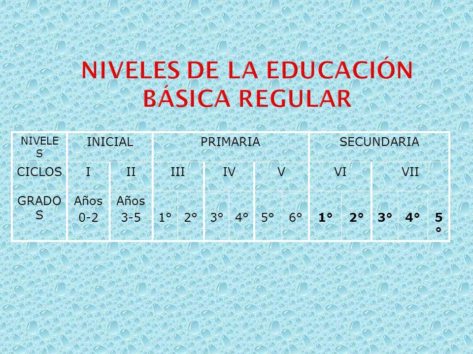 Niveles de la educación Básica Regular