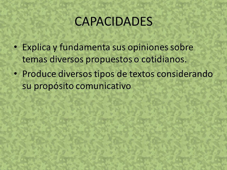 CAPACIDADES Explica y fundamenta sus opiniones sobre temas diversos propuestos o cotidianos.